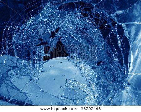 an image of a broken car window