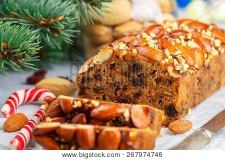 Fruitcake. Traditional Christmas Cake With Almonds, Dried Cranberries, Cinnamon, Cardamom, Anise, Cl