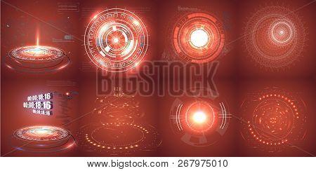 Hud Futuristic Element. Set Of Circle Abstract Digital Technology Ui Futuristic Hud Virtual Interfac