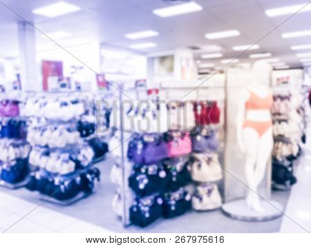 Filtered Tone Blurry Background Female Mannequins With Bra And Panties In Underwear Shop