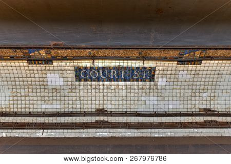 New York City - September 15, 2018: Sign For The Court Street Subway Station In The New York City Su