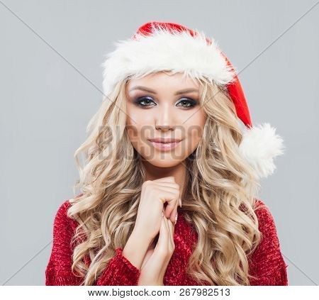 Pretty Woman In Santa Hat, Christmas And New Year Party Female Portrait