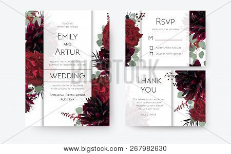 Wedding Invite, Invitation Card, Rsvp, Thank You Cards Floral Design. Vintage Red Rose Flowers, Burg