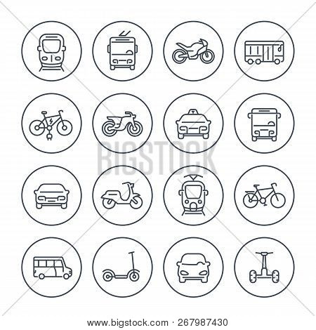 City Transport Icons Set On White, Transit Van, Cab, Bus, Taxi, Train, Bikes, Scooters, Linear Style