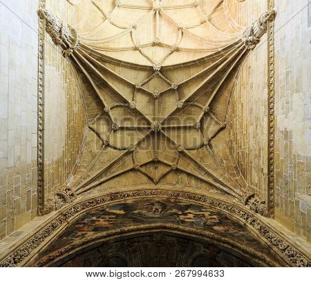 Tomar, Portugal - June 24, 2018:  View Of The Ribbed Vault Of The Main Nave Of The Church Of The Con