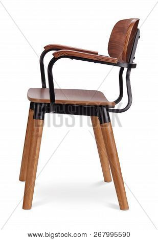 Brawn Color Wooden Chair, Armchair, Metal. Modern Designer. Chair Isolated On White Background. Seri