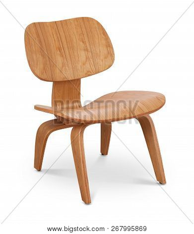 Brawn Color Wooden Chair, Armchair. Modern Designer. Chair Isolated On White Background. Series Of F