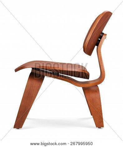 Dark Brawn Color Wooden Chair, Armchair. Modern Designer. Chair Isolated On White Background. Series