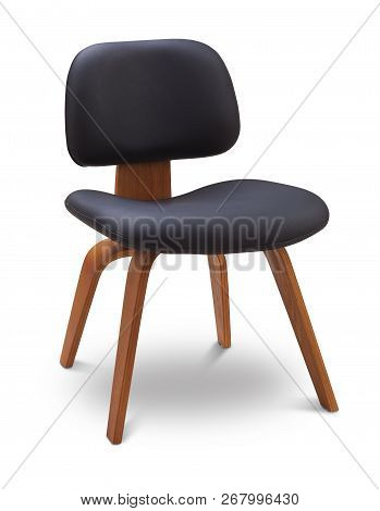 Black Color Chair, Wood, Leather Chair, Modern Designer. Chair Isolated On White Background. Series