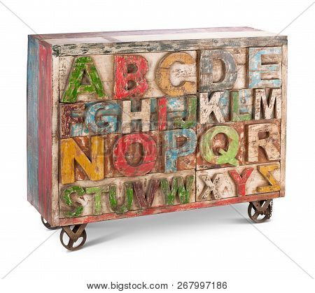 Wooden bureau, commode with boxes. Modern designer, commode isolated on white background. Series of furniture poster