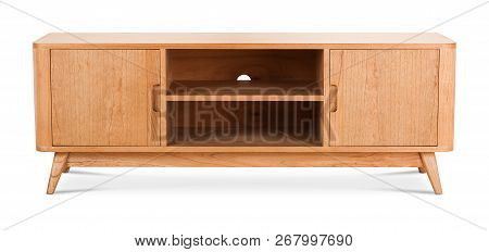 Wooden stand, bureau, commode with boxes. Modern designer, commode isolated on white background. Series of furniture poster