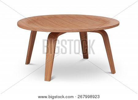 Brown Wooden Round Coffee Table, Dinning Table, Magazines Table. Modern Designer, Table Isolated On