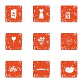 Congratulations to beloved icons set. Grunge set of 9 congratulations to beloved vector icons for web isolated on white background poster