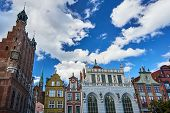 The historic town hall and historic tenement houses building in Gdansk poster