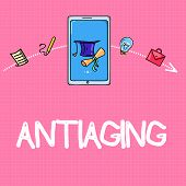 Conceptual hand writing showing Antiaging. Business photo text A product designed to prevent the appearance of getting older poster