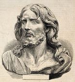 Engraved illustration of Jesus Christ's head. Original, from drawing of Worms after photo of Lapanne of  a marble sculpture of P. Puget, was published on L'Illustration, Journal Universel, Paris, 1860 poster