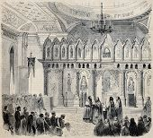 Old illustration of oriental rite Orthodox church inauguration in Nice, France. Original, from drawing of Blanchard, on sketch of Tranchel, published on L'Illustration Journal Universel, Paris, 1860 poster