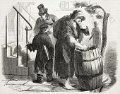 Old illustration of rag merchant in New York. Created by Job, published on L'Illustration Journal Universel, Paris, 1857 poster