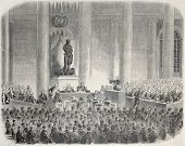 Old illustration of Marie-Francoise Xavier Bichat statue inauguration. Created by Janet-Lange, published on L'Illustration, Journal Universel, Paris, 1857 poster
