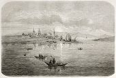 Okhotsk port old view, Russia. Created by Adam after Billings, published on Le Tour du Monde, Paris, 1860 poster