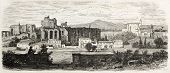 Domitian palace ruins old view, Rome. By unidentified author, published on L'Illustration, Journal Universel, Paris, 1860 poster