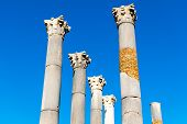 Ruins of the roman city of Volubilis, UNESCO world heritage site Meknes in Morocco poster