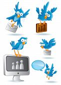 cartoon illustration of social media network bluebird poster