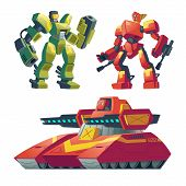 Vector cartoon combat robots with red tank. Battle androids with artificial intelligence, military vehicle isolated on white background for games. Futuristic soldiers, robotic toys. poster