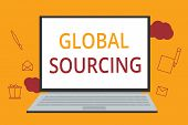 Word writing text Global Sourcing. Business concept for practice of sourcing from the global market for goods poster