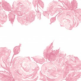 Watercolor Monochrome Pink White Rose Peony Flower Floral Composition Frame Border Template Sample B