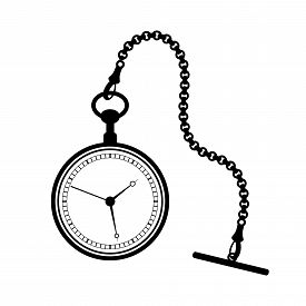 Pocket Watch With Chain Isolated On White Background.