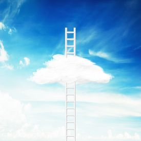 Illustration Of Conceptual Image With Ladder Leading To White Cloud Over Blue Sky Background