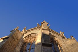 Detail Of A Gothic Church With Gargoyles In Vienna