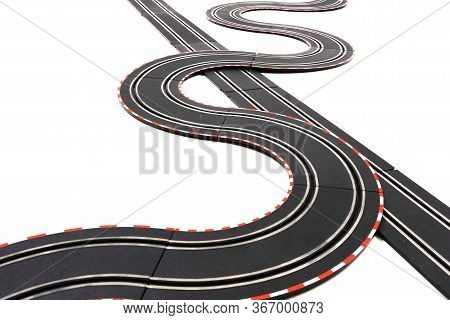 Toy Slot Car Racing Track Isolated
