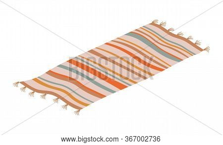 Striped Rug Floor Covering Isolated On White. Vector Retro Mat, Carpet Thick Woven Material, Interio