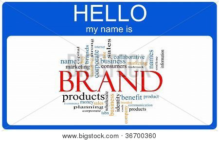 Brand Word Cloud Nametag Concept