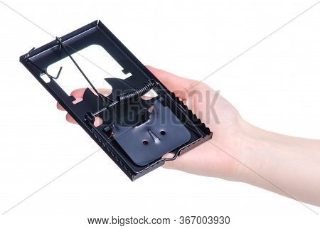 Mousetrap In Hand Danger Equipment On White Background Isolation