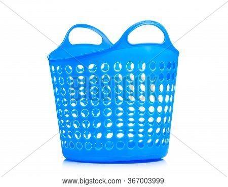 Blue Plastic Laundry Basket On White Background Isolation