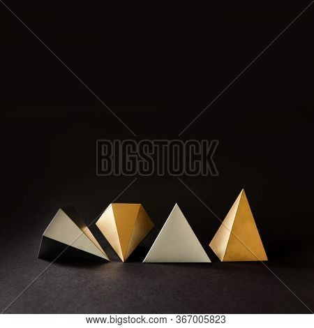 Minimal Geometry Still Life Composition. Platonic Solids Figures Geometry. Abstract Gold And Silver