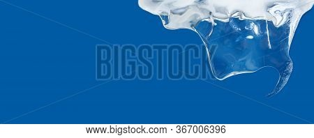 Ice Texture Surface. Blue Color Abstract Shape Frozen Water Icicle. Deep Freeze Decorative Frame On