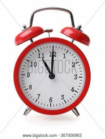 Close-up Of Round Shaped Red Retro Alarm Clock. Snooze Showing Eleven. Vintage Watch. Hurry Deadline
