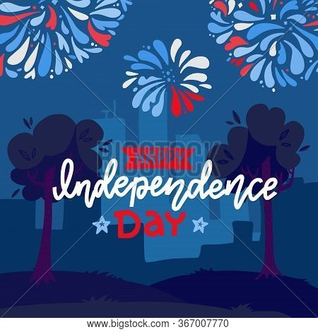 Festive Background For Usa Independence Day, Fourth Of July, With Fireworks Under Night City Landsca