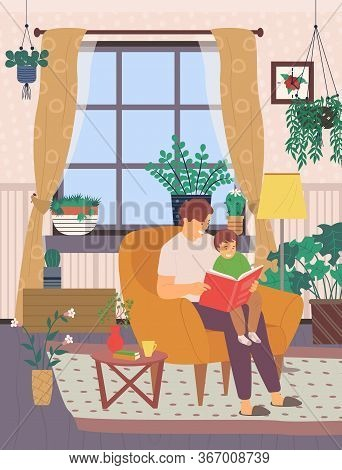 Father Care Vector, Man At Home In Light Room, Boy Learn To Read Book With Daddy, Dad Sits On Modern