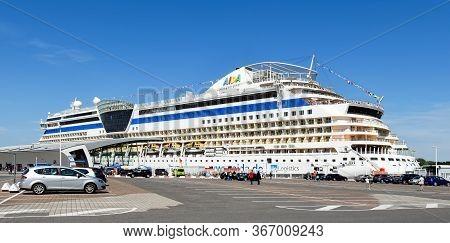 Warnemünde, Germany - July 14, 2017: The Cruise Ship Aidadiva Of Aida Cruises Has Moored At The Crui