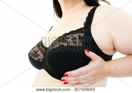 Woman Big Breast Wearing Bra