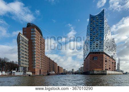 Hamburg / Germany - February 21, 2017: New Elbphilharmonie Concert Hall In The Hafencity Quarter Of