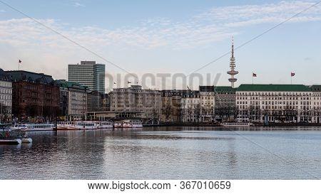 Hamburg / Germany - February 21, 2017: Panoramic View Of Hamburg Cityscape Dominated By The Hamburg