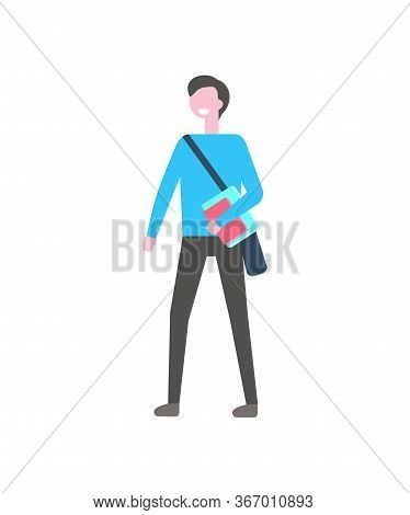 Student Man With Textbook And Bag Over Shoulder Vector Isolated Cartoon Character. Smiling College O