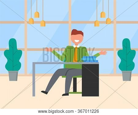 Smiling Worker Character Sitting At Table With Documents, Paperwork On Workplace. Businessman Workin