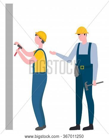 Team Of People Working On Building And Repairing Vector. Teamwork Professional Supervising, Man Wear